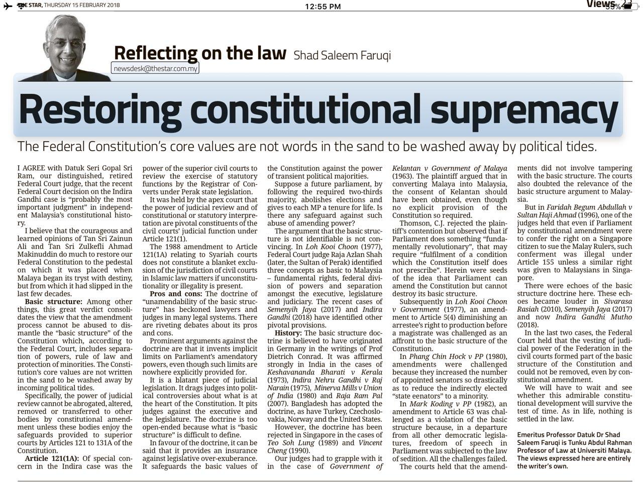 Restoring Constitutional Supremacy